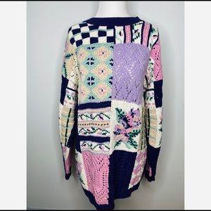 Vintage Cottagecore Floral Knit Purple Sweater
